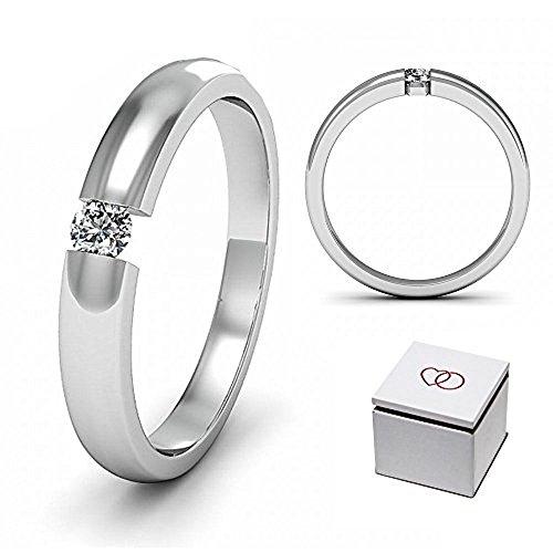Verlobungsring Spannring 0,1ct. 925er Sterling-Silber und 3mm Zirkonia *** Gratis Etui/Gravur/Versand // MADE IN GERMANY // Damenring zum Antrag + Verlobung