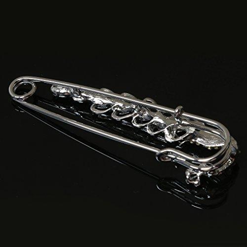 Gazechimp 2 Stücke Strass Metall Große Sicherheitsnadel Brosche Schal Clip Pin 70mm