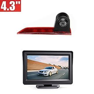 Rckfahrkamera-Transporter-Kamera-an-3-Bremsleuchte-Dachkante-Einparkhilfe-NTSC-fr-Ford-Transit-Custom-V362-2012-2019-43-Zoll-DVD-Monitor-TFT-Bildschirm-LKW-KFZ-LCD-Display