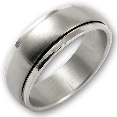 Fly Style® – Schmaler Spinning Drehring aus 316L Edelstahl – silber matt – Herren Damen Ehering Verlobungsring Band drehbar
