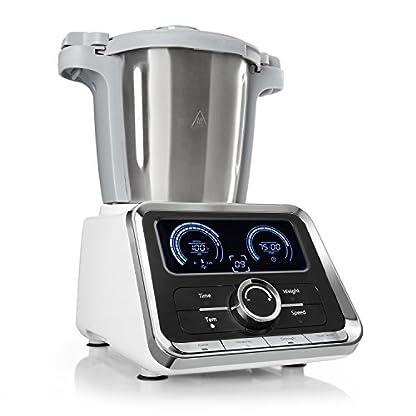 Klarstein-GrandPrix–Multifunktions-Kchenmaschine–Rhrmaschine–Kchenmaschine-mit-Kochfunktion–500-1000-W–25L-Edelstahlschssel–30-120C-einstellbar–12-Geschwindigkeiten–silber
