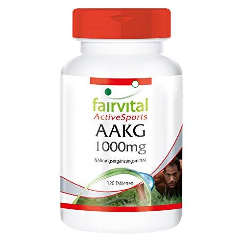 AAKG 1000mg, L-Arginin-Alpha-Keto-Glutarat, vegan, hohe Bioverfügbarkeit, 120 Tabletten ohne Trennmittel, für bessere Leistung und Ausdauer