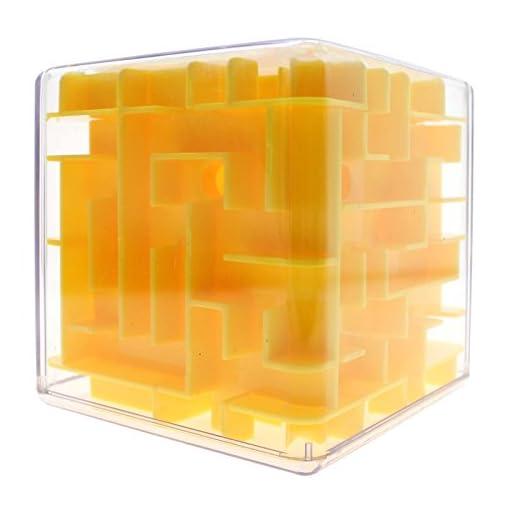 GGG-Labyrinth-3D-magischer-Wrfel-Roll-Spielzeug-Puzzle-Spiel-fr-Kinder-Erwachsene-Gelb
