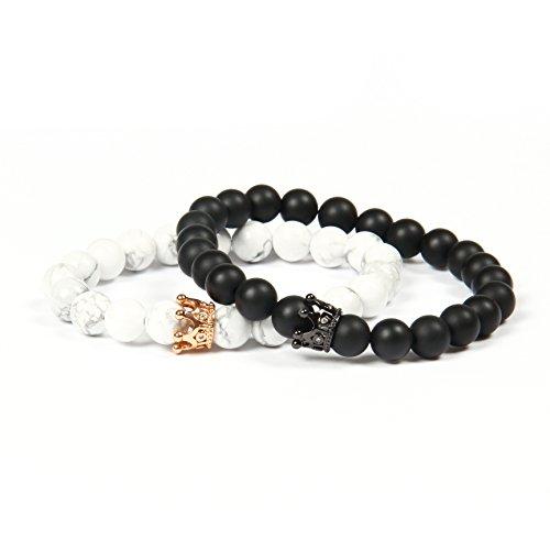 GD GOOD.designs EST. 2015 ® Kronenarmband aus schwarzen Onyx- und weißen Howlithperlen, Partnerarmband mit Krone King & Queen