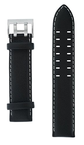 Uhrenarmband-Armband-Lederarmband-schwarz-20-mm-silberfarbene-Doppeldornschliee-beige-Naht-glatt-von-Junkers