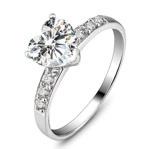 Epinki Schmuck, Damen Ringe 925 Silber Love Herz Form Damenringe mit Zirkonia Heiratsantrag Ring Verlobungring