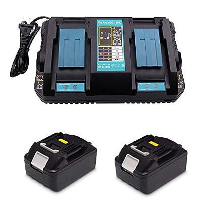 Ersatz-4A-DC18RD-2-fach-Dual-Schnellladegert-mit-2X-Akku-18V-50Ah-fr-Makita-Kettensge-DUC353Z-DUC302Z-Rasenmher-DLM380Z-DLM431Z-Heckenschere-DUH523Z-Rasentrimmer-DUR181Z-Battery