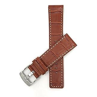 22mm-30mm-Leder-Uhrenarmband-Fr-Herren-Mit-Naht-BraunSchwarz-Wei-Braun-Knigsblau
