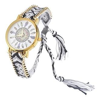Souarts-Damen-Geflochten-Armbunduhr-Jugendliche-Mdchen-Armreif-Uhr-mit-Batterie-Zifferblatt-Wei-und-Schwarz