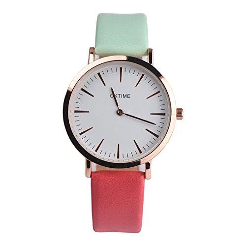 Homim-Damen-Armbanduhr-Weiss-Zifferblatt-Grn-Rot-PU-Leder-Armband-Analog-Dornschliee-Frauen-Batterie-Quarzuhr-Uhrwerk