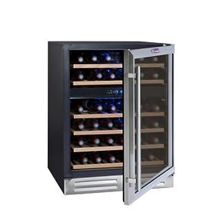 La-Sommelire-CVDE46-2-Weinkhlschrank830-cm-HheMultizonen-Einbauweinklimaschrank-mit-KompressorDigital-Anzeige-der-Temperaturedelstahl-und-schwarz