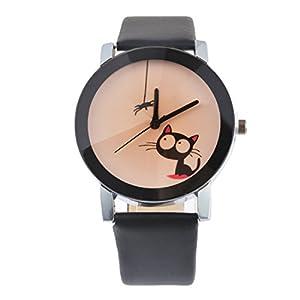 Souarts-Damen-Schwarz-Einfach-Design-Retro-Stil-Armbanduhr-Quartzuhr-Analog-mit-Batterie