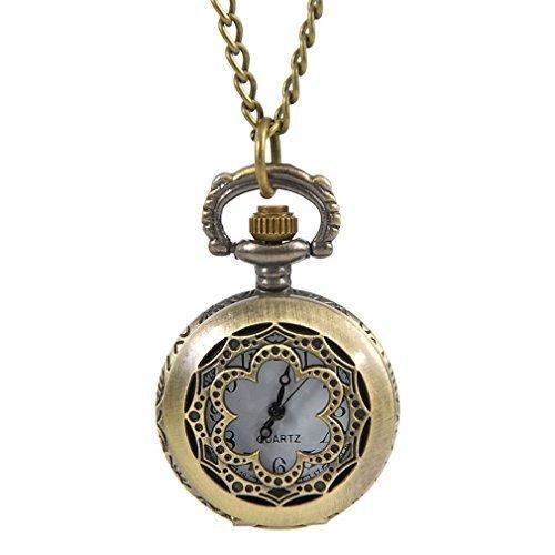 Souarts-Bronzefarbe-Bltenblatt-Antik-Nostalgie-Design-Taschenuhr-Klassische-Vintage-Mode-Umhngeuhr-Kettenuhr