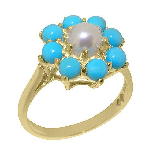 LetsBuyGold Damen Ring Solide 9 Karat (375) Gelbgold mit Perle und Türkis – Verfügbare Größen : 47 bis 68