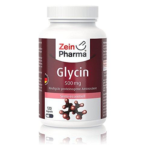 ZeinPharma Glycin 120 Kapseln • hochdosiert 500mg • Hergestellt in Deutschland • Hauptbestandteil von Kollagen • Vegan