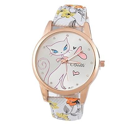 Souarts-Damen-Lila-Retro-Stil-Ktzchen-Armbanduhr-mit-Strass-Quartzuhr-Analog-mit-Batterie