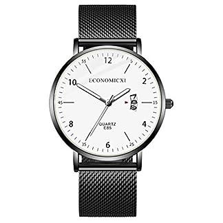 Armbanduhr-herren-Liusdh-Uhren-Mode-einfache-Edelstahlgewebe-Band-mit-Kalender-Herren-Quarzuhr