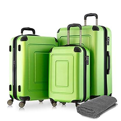 Happy-Trolley-3er-Koffer-Set-Trolley-Set-Rollkoffer-Hartschalen-Koffer-Reisekoffer-Lugano-sehr-leicht-TSA-S-M-XL-Grn-Badehandtuch