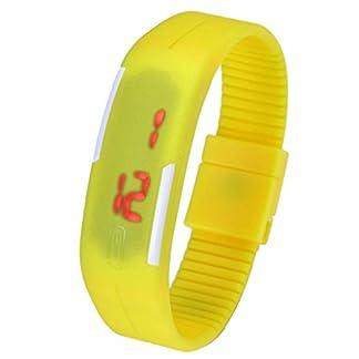 JSDDE-UhrenTouch-Screen-LED-Digital-Uhr-Quarzuhr-Sportuhr-Silikon-Herren-Damen-ArmbanduhrGelb