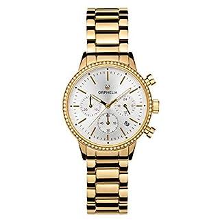 ORPHELIA-Damen-Chronograph-Armbanduhr-Sunray-Steinbesetzte-Lnette-mit-Edelstahl-Armband