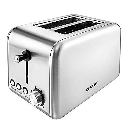CHULUX-Toaster-2-Scheiben-Edelstahl-Auftauen-Aufwrmen-und-Abbrechen-Funktionen-6-Brunungsstufen-Krmelschublade-850-Watt-Silber