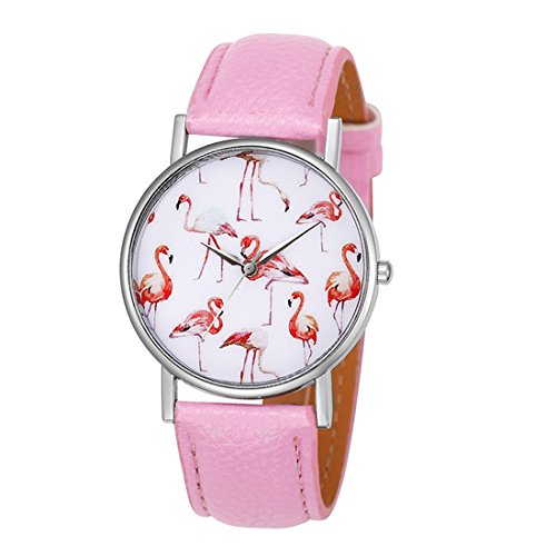 MJARTORIA-Damen-Armbanduhr-Elegant-wei-Zifferblatt-mit-Flamingo-Motiv-Analoge-Quarz-Uhr-Rosa