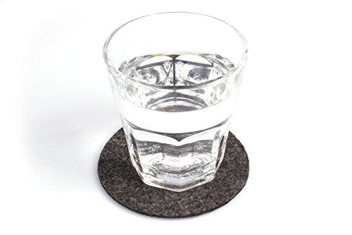 10er Set Glasuntersetzer Rund aus Filz in Dunkelgrau (+ Weitere Farben) Ø 10cm, Filzuntersetzer Edel und Elegant für Gläser, Bar und Tisch, Auch als Getränkeuntersetzer Geeignet