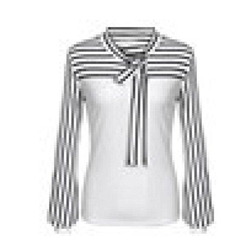 Oberteile-Damen-Elegant-Tie-Bow-Neck-Striped-Langarm-Pullover-Tops-DOLDOA