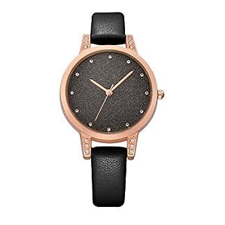 Godagoda-Damen-Armbanduhr-Leder-Pailletten-Glitzer-Perlen-Deko-Wasserdicht-Quarzuhr-Geschenke-fr-Mdchen-22cm