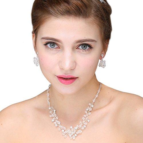 Eleganten Crystal Strass Tiara Halskette Ohrringe Hochzeit Schmucksets für Braut Prom