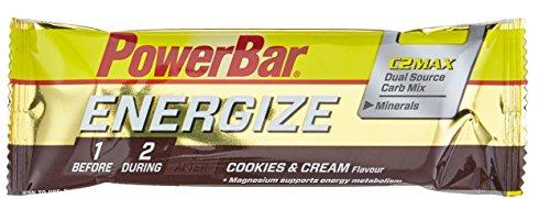 Energieriegel Energize mit Magnesium und Natrium – Fitness-Riegel, Kohlenhydrate Riegel mit Hafer, Früchten und Maltodextrin bei erhöhtem Energiebedarf – 25 x 55 g Cookies and Cream
