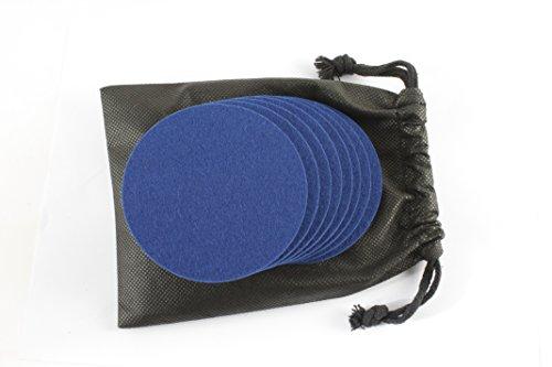 Filz-Untersetzer rund | Wollfilz-Untersetzer | Farbe dunkelblau | Ø 100 mm – Stärke 4 mm | 8 Stück in Geschenkbeutel | Nr.46146