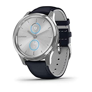 Garmin-Vivomove-Luxe-Smartwatch-Hybrid-Analog-Digital-Unisex-Silbernes-Gehuse-Dunkelblaues-Lederarmband-010-02241-00