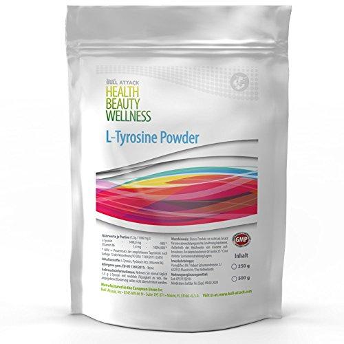 L-TYROSINE POWDER | 250g / 500g / 1000g Pulver | L-Tyrosin + Vitamin B6 | Muskelaufbau + Fettverbrennung + Gehirnleistung | Top Qualität