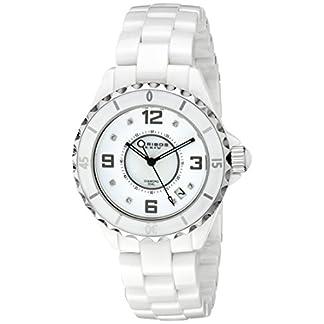 Akribos-XXIV-Damen-Armbanduhr-Diamant-verziert-Keramik-mit-Link-Armband