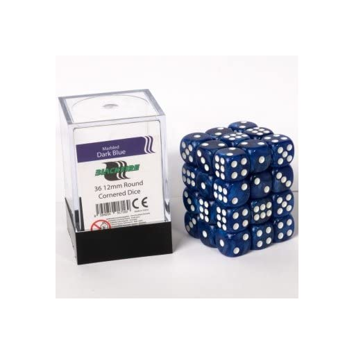 ADC-Blackfire-Entertainment-91716-Blackfire-Wrfel-Box-12mm-D6-36-Dice-Set-Marmoriert-Dunkelblau