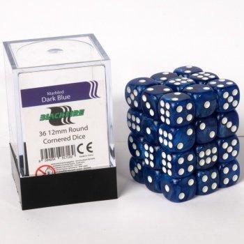ADC-Blackfire-Entertainment-91716-Blackfire-Wrfel-Box-12mm-D6-36-Dice-Set-Marmoriert-Dunkelblau