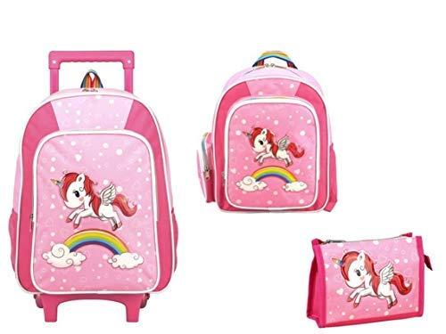 STEFANO-Kinder-Reisegepck-Einhorn-Unicorn-Set-Pink-mit-Regenbogen-fr-Mdchen