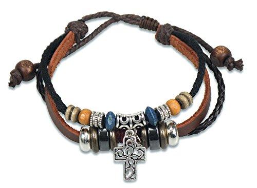 Lederarmband mit Kreuz und Perlen silber braun schwarz