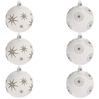 Multistore-2002-6er-Set-Weihnachtskugeln-8cm-2-Sorten-Wei-Glaskugeln-Weihnachtsbaumkugeln-Christbaumkugeln-Christbaumschmuck-Baumschmuck-Dekokugeln