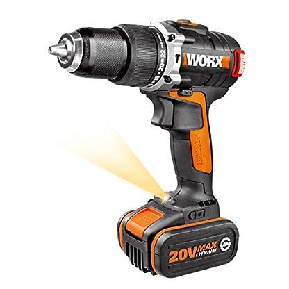 WORX-Akku-Schlagbohrschrauber-SetBrstenloser-Akkuschrauber-20V-2-Li-Ion-Akkus-Koffer-Schnell-Ladegert60Nm-2-Gang-Getriebe-LED-Licht-zum-Schrauben-Bohren-Schlagbohren