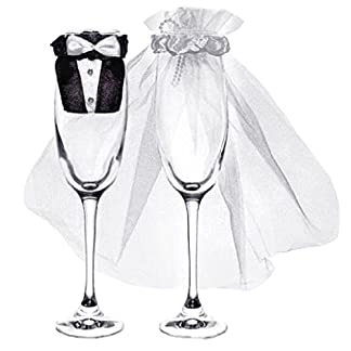 Glas-Kleidung-Brautpaar-fr-Champagnerglser-1-Paar
