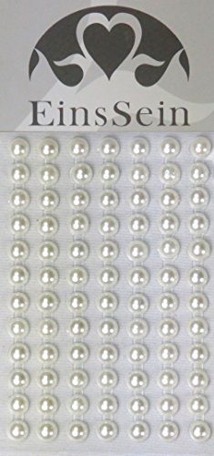 84x Aufkleber Sticker selbstklebend 5,5mm Perle creme EinsSein® – Glitzersteine Strasssteine Einladungskarten