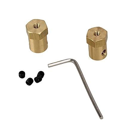 Yibuy-2-x-Sechseck-Motor-Flexible-Kupplung-Passend-fr-3-mm-Schaft-mit-Halterung-Beschlge