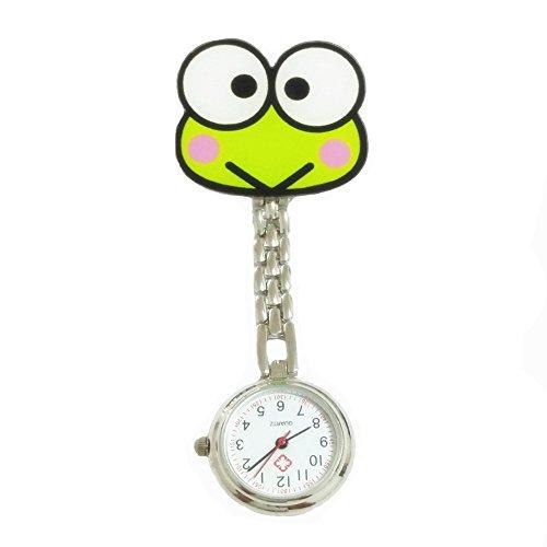 KEEKA-S-Grn-Frosch-Krankenschwesteruhr-Quarzuhr-Kinderuhr-Taschenuhr-mit-Clip