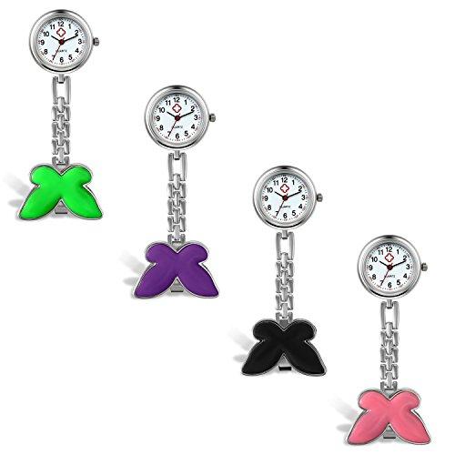 Lancardo-Damen-Taschenuhr-Krankenschwester-Uhr-Analog-Quarzuhr-aus-Legierung-mit-Schmetterling-Design-Schwesternuhr-lila-grn-pink-schwarz
