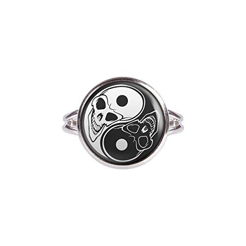 Mylery Ring mit Motiv Yin Yang Schwarz Weiß Toten-Kopf silber verschiedene Größen