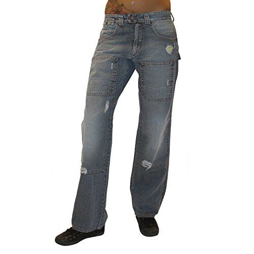 MET Design Damen Jeans Electrician Jeanshose Baggy Hip Hop Hose gerades Bein