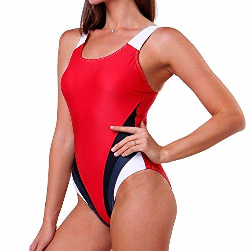 FITTOO Damen Vintage Figuroptimizer X-Rücken Einteiliger Sport Badeanzug mit Bein