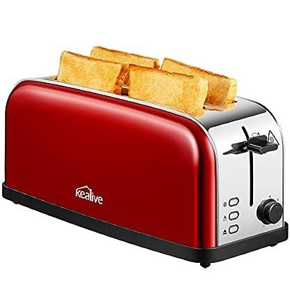 Toaster-Automatik-Toaster-Edelstahl-mit-Langschlitz-Defrost-Funktion-Abnehmbarer-Krmelschublade-1500-Watt-bis-zu-4-Brotscheiben-und-7-Brunungsstufen-glatter-Edelstahl-rote-von-Kealive